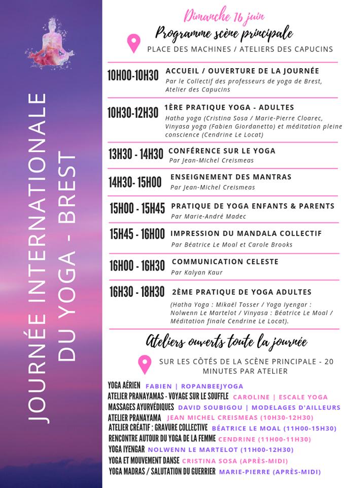 Programme yoga Brest 2019